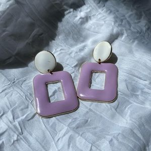 lavender and white color block earrings